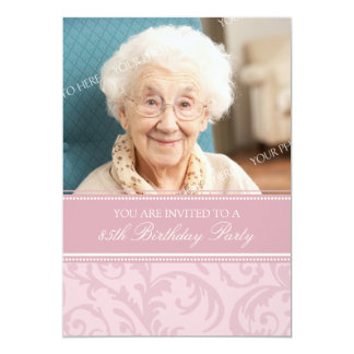 "Pink Cream Floral 85th Birthday Party Invitations 5"" X 7"" Invitation Card"
