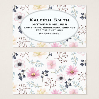 Pink Cream Floral on White Mother's Helper Business Card
