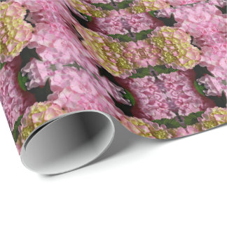 pink  cream hydrangeas wrapping paper