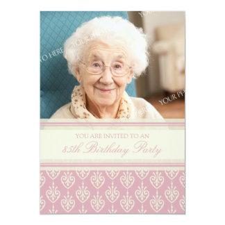 Pink Cream Photo 85th Birthday Party Invitations