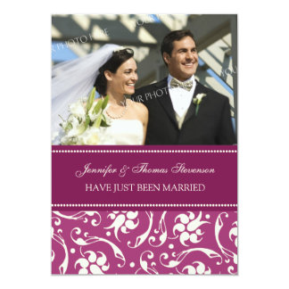 Pink Cream Photo Just Married Announcement Cards