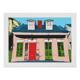 Pink Creole Cottage Poster