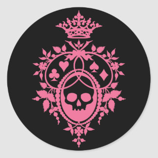 Pink Crest with Skull and Cardsuits Classic Round Sticker