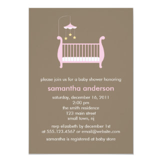 Pink Crib Girl Baby Shower Card
