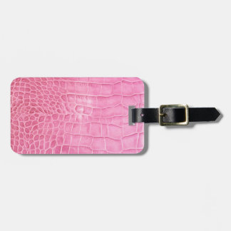 Pink crocodile luggage tag