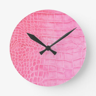 Pink crocodile round clock