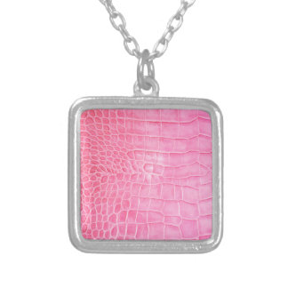 Pink crocodile silver plated necklace