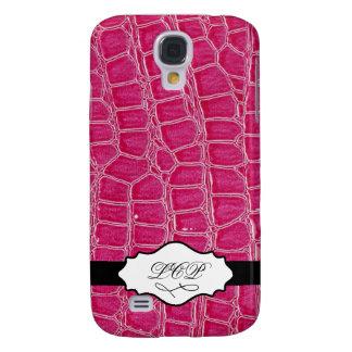 Pink Crocodile Skin Initial Monogram iPhone 3 Case