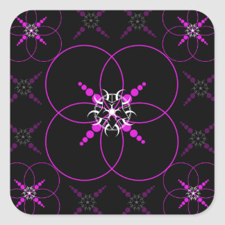 Pink Crop Circles Square Sticker