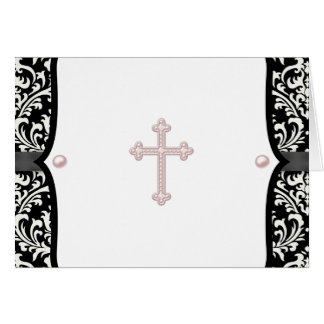 Pink Cross and Black Damask Thank You Cards