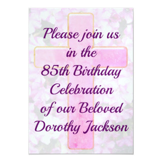 PINK CROSS AND FLORAL 85TH BIRTHDAY INVITATION