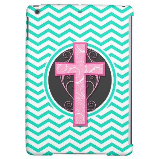Pink Cross; Aqua Green Chevron iPad Air Covers