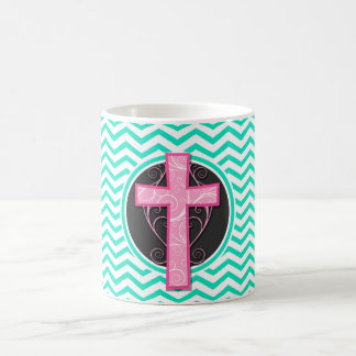 Pink Cross; Aqua Green Chevron Coffee Mugs