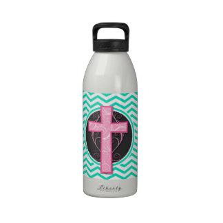 Pink Cross; Aqua Green Chevron Water Bottle