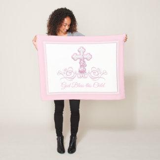 Pink Cross Baby Girl Baptism Blanket