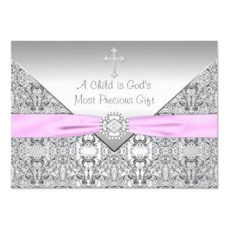 "Pink Cross Baby Girl Baptism Christening 5"" X 7"" Invitation Card"