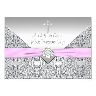 Pink Cross Baby Girl Baptism Christening Card