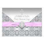 "Pink Cross Baby Girl Baptism Christening 5"" X 7"" Invitation Card"
