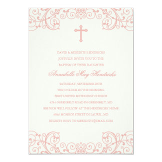 Pink Cross Baptism/Christening Invitation