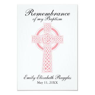 Pink Cross Baptism Christening Prayer Card