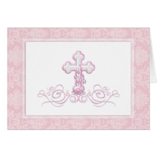 Pink Cross Baptism Christening Thank You Cards