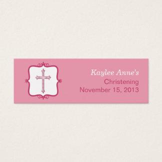 Pink Cross Baptism Small Tag Mini Business Card