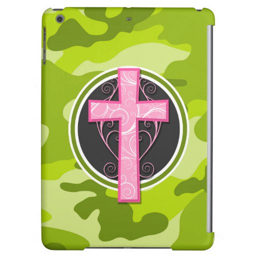 Pink Cross; bright green camo, camouflage Case For iPad Air