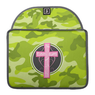 Pink Cross; bright green camo, camouflage MacBook Pro Sleeves