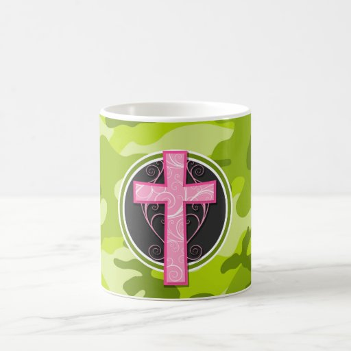 Pink Cross; bright green camo, camouflage Mugs