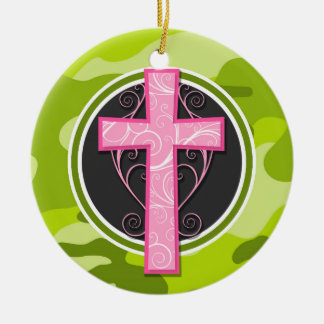 Pink Cross; bright green camo, camouflage Double-Sided Ceramic Round Christmas Ornament