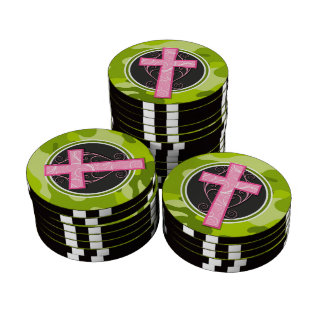 Pink Cross; bright green camo, camouflage Poker Chips