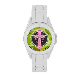 Pink Cross; bright green camo, camouflage Wristwatch