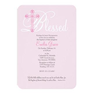 pink cross CHRISTENING baptism invitation