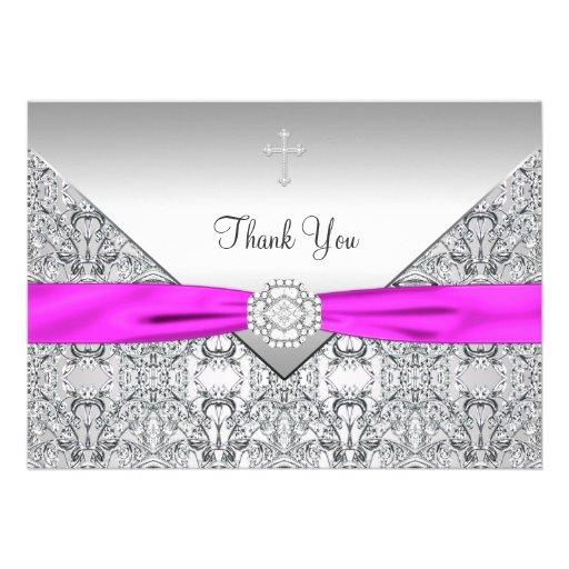Pink Cross Elegant Christian Thank You Card Announcement
