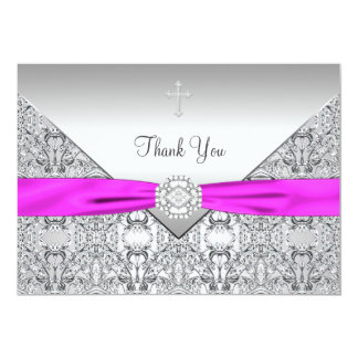 Pink Cross Elegant Christian Thank You Card Announcement