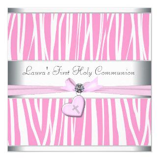 "Pink Cross First Communion 5.25"" Square Invitation Card"