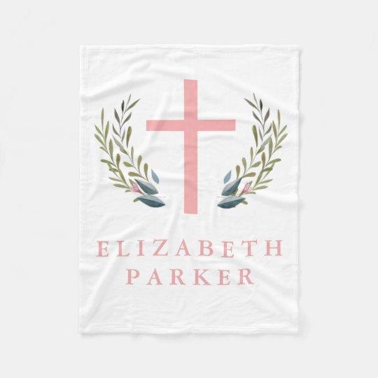 Pink Cross Fleece Baby Blanket