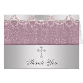 Pink Cross Girls Cristening Thank You Cards