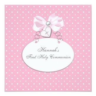 "Pink Cross Girls First Communion 5.25"" Square Invitation Card"