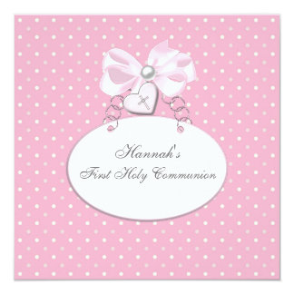 "Pink Cross Girls First Communion 5.25"" Square Invitation Card"