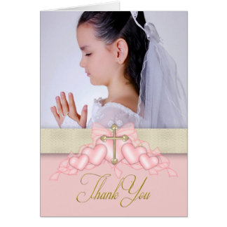 Pink Cross Photo First Communion Thank You Cards