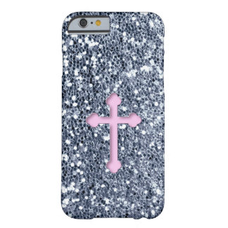 Pink Cross Sparkle Glitter Look Barely There iPhone 6 Case