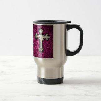 Pink Cross Stainless Steel Travel Mug
