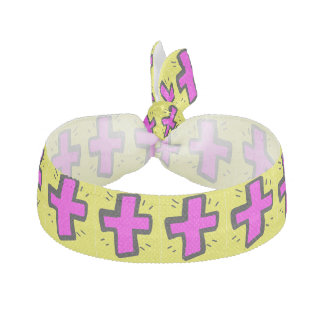 pink cross with yellow background ribbon hair tie