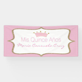 Pink Crown and Polka Dot Quinceanera Banner
