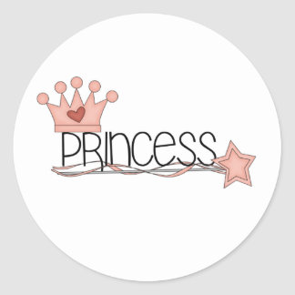 Pink Crown and Wand Princess Classic Round Sticker