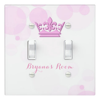 Pink Crown & Dots Royal Princess Personalized Light Switch Cover