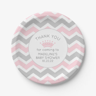 Pink Crown Princess Baby Shower paper plates