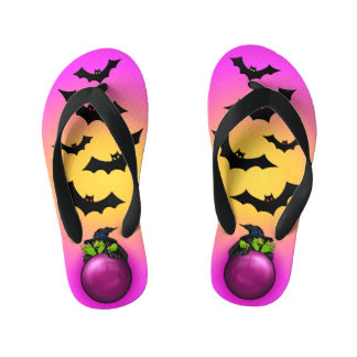 Pink Crystal Ball Witch and Bats Kid's Flip Flops