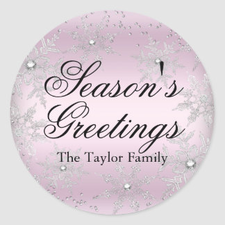 Pink Crystal Snowflake Christmas Sticker
